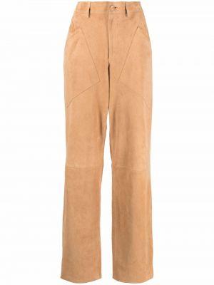 Коричневые кожаные брюки Alberta Ferretti