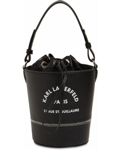 Ze sznurkiem do ściągania skórzany z paskiem czarny torba Karl Lagerfeld