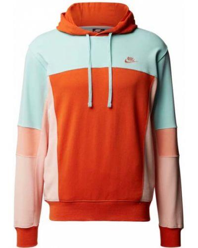 Bluza z kapturem bawełniana ocieplana turkusowa Nike