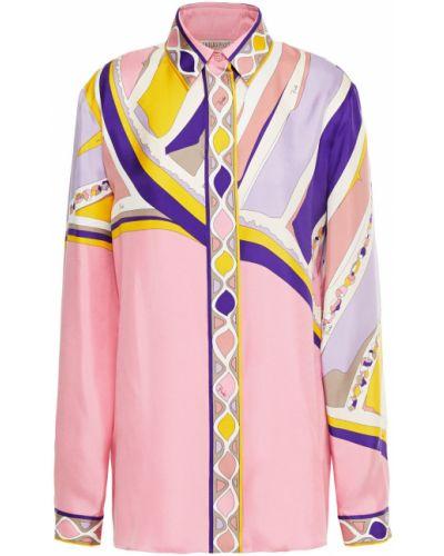 Ażurowa różowa koszula z jedwabiu Emilio Pucci