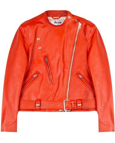Кожаная куртка на молнии укороченная Acne Studios