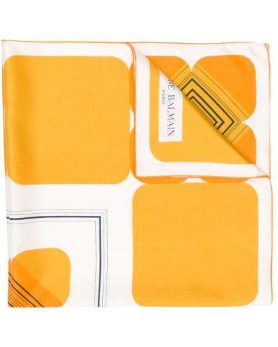 Шелковый желтый платок Balmain Pre-owned