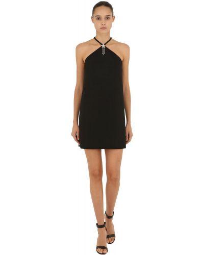 Черное платье мини с декольте с воротником Miu Miu