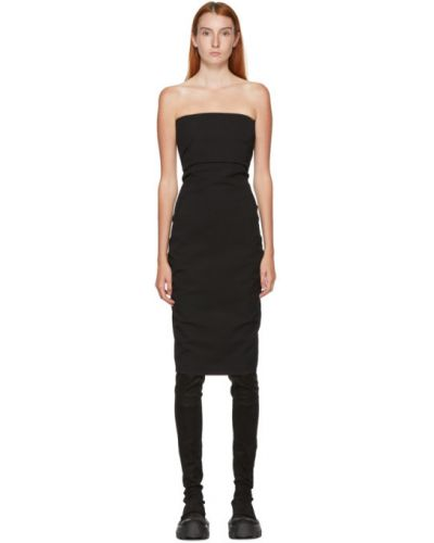 Czarny asymetryczny sukienka z wiskozy z kieszeniami Rick Owens