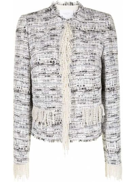Белый удлиненный пиджак твидовый с бахромой Giambattista Valli