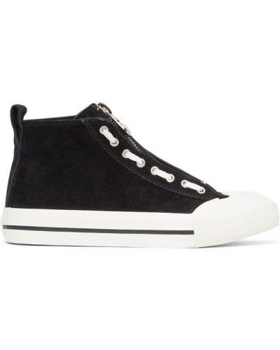 Koronkowa skórzany czarny wysoki sneakersy Diesel