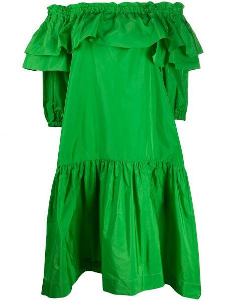 Свободное зеленое платье миди с открытыми плечами P.a.r.o.s.h.