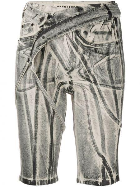 Хлопковые белые джинсовые шорты с карманами Ottolinger