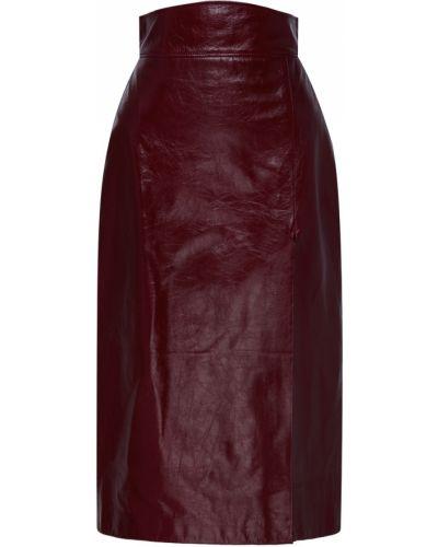 Кожаная бордовая с завышенной талией юбка карандаш с разрезом Gucci