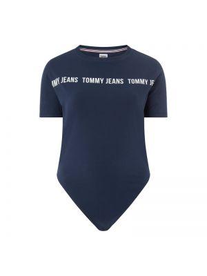 Niebieski body krótki rękaw bawełniany Tommy Jeans Curve