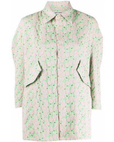 Зеленая рубашка из полиэстера Henrik Vibskov