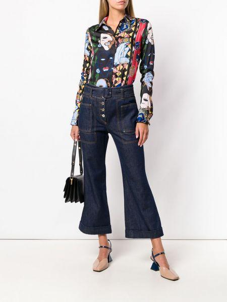 Укороченные джинсы расклешенные синие Carven