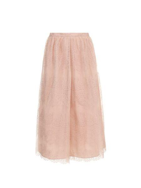 Розовая с завышенной талией юбка миди стрейч в рубчик St. John