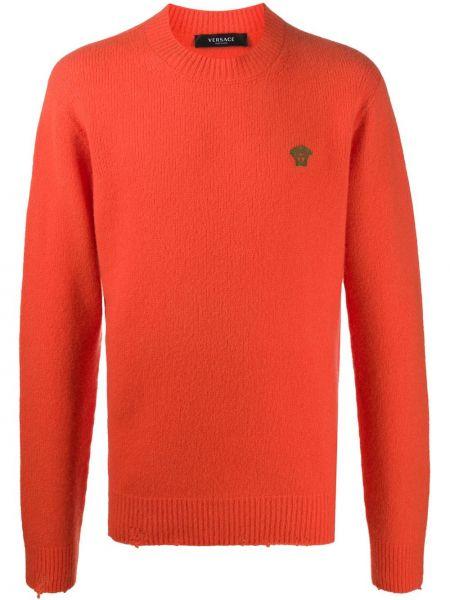 С рукавами оранжевый шерстяной длинный свитер Versace