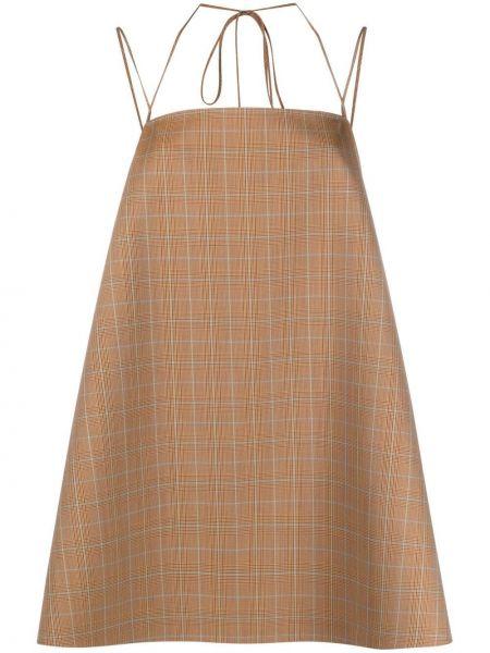 Шерстяное бежевое платье мини квадратное Magda Butrym