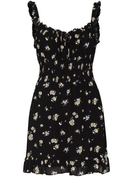 Платье мини в цветочный принт - черное Reformation