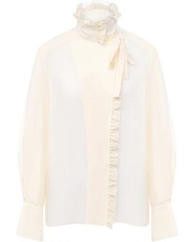 Бежевая шелковая блузка Chloé