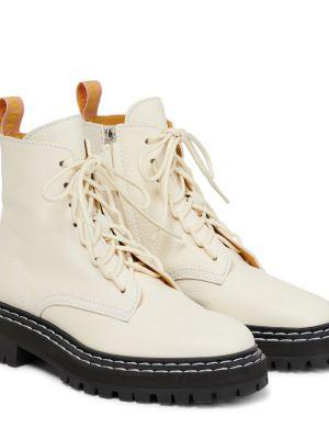 Белые сапоги из натуральной кожи на шнуровке Proenza Schouler