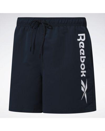 Синие спортивные шорты для фитнеса на шнурках Reebok