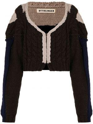 Beżowy sweter z dekoltem w serek Ottolinger