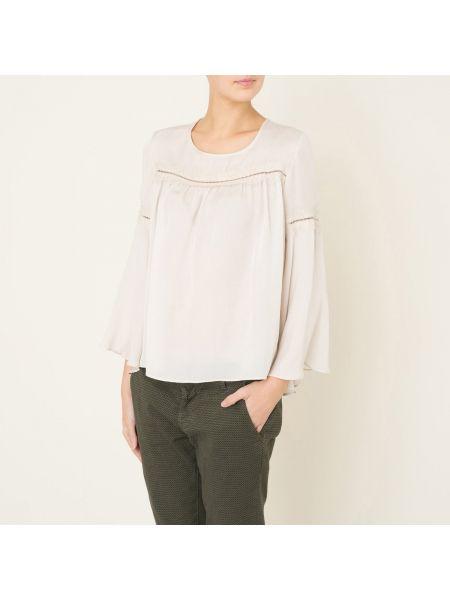 Шелковая бежевая кружевная блузка с вырезом Valerie Khalfon