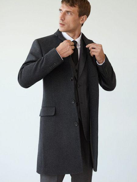 Серое шерстяное пальто классическое с карманами Mango Man