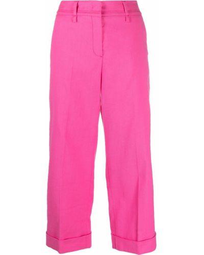 Хлопковые розовые с завышенной талией укороченные брюки Luisa Cerano