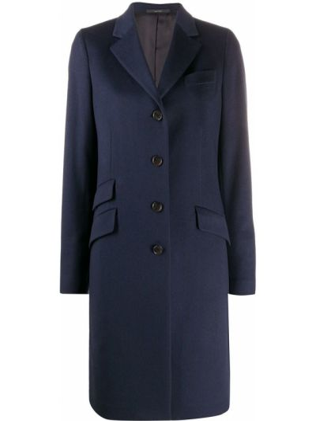 Синее кашемировое длинное пальто с воротником Paul Smith