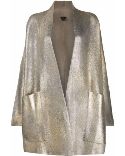 Шерстяное длинное пальто золотое с глиттером Avant Toi