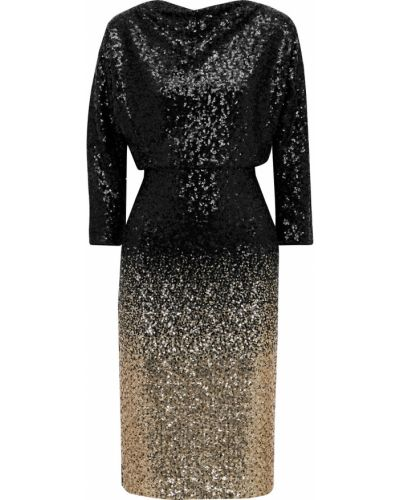 Черное платье с пайетками с драпировкой Badgley Mischka