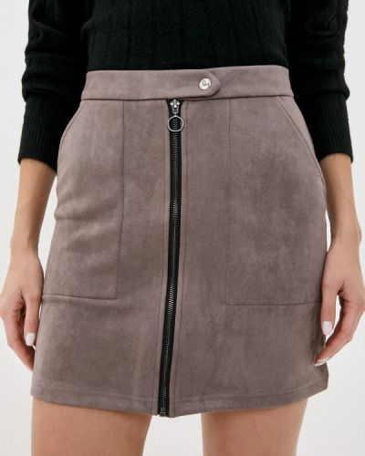 Серая кожаная юбка Jacqueline De Yong