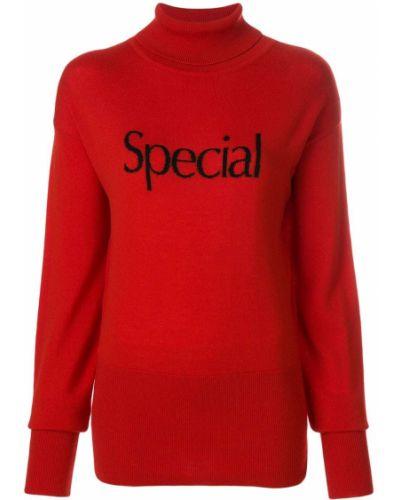 Prążkowany długi sweter wełniany z długimi rękawami Christopher Kane