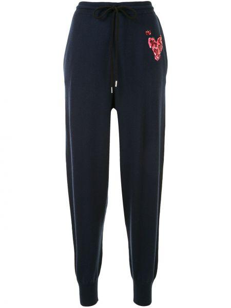 Синие шерстяные спортивные брюки с пайетками с поясом Markus Lupfer