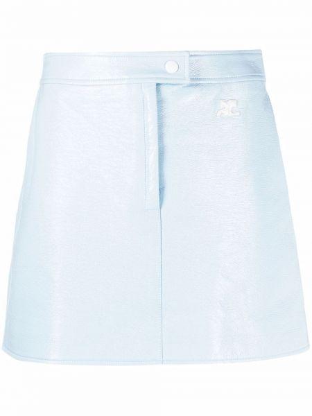 Синяя юбка мини с нашивками на молнии Courrèges