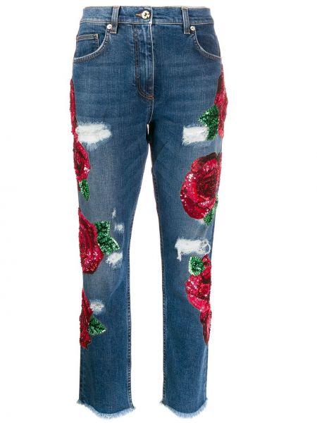 Джинсы с вышивкой с карманами Blumarine
