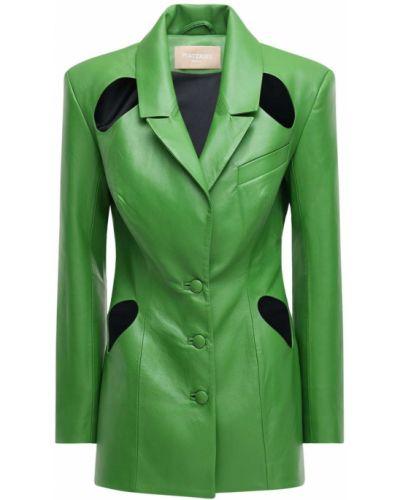 Зеленый кожаный пиджак с отворотом Matériel