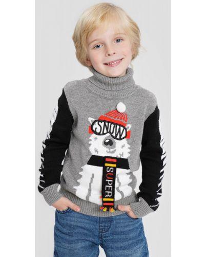Серый длинный свитер с воротником с рисунком Ostin