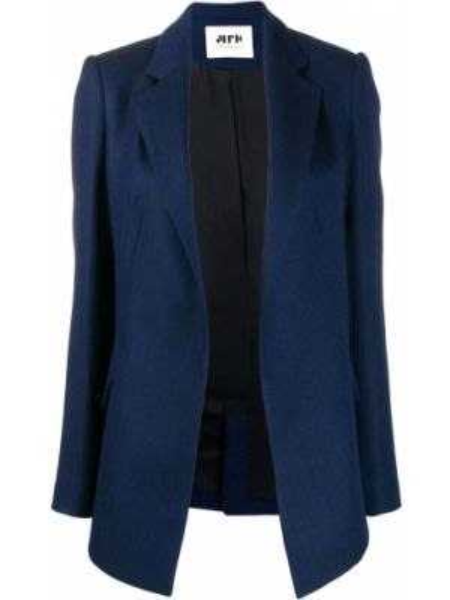Синяя куртка с лацканами на пуговицах узкого кроя Maison Rabih Kayrouz