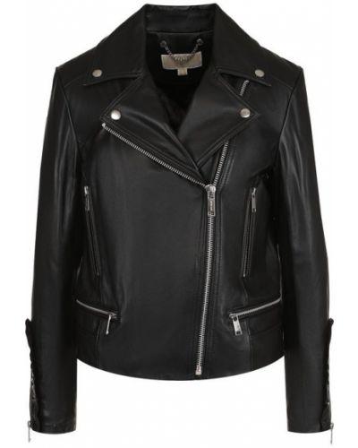 Кожаная куртка с карманами из полиэстера на молнии Michael Michael Kors