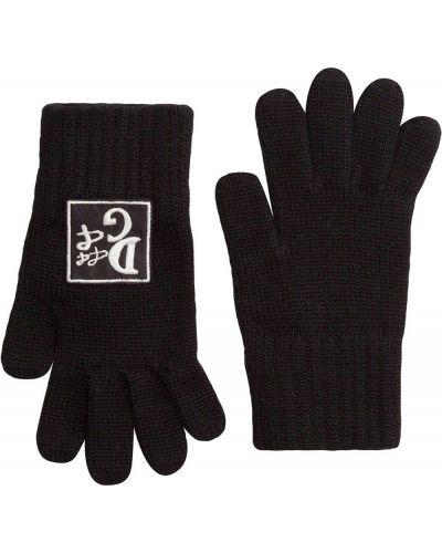 Шерстяные черные перчатки с вышивкой Dolce & Gabbana Kids