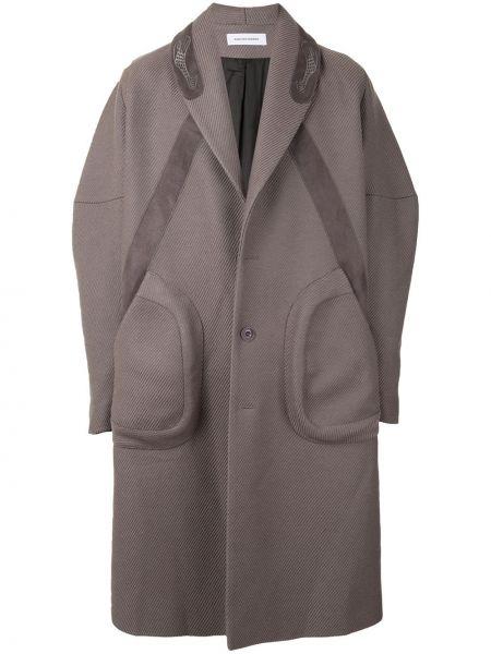 Klasyczny wełniany długi płaszcz z kieszeniami z klapami Kiko Kostadinov