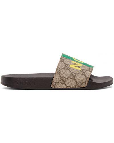 Otwarty brezentowy żółty sandały okrągły Gucci