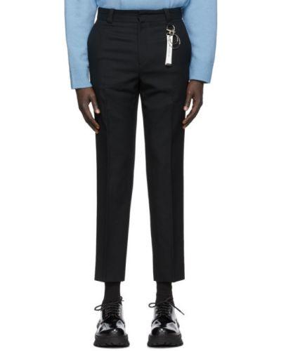 Шерстяные брючные черные брюки с поясом Wooyoungmi