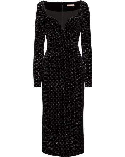 Czarny aksamit sukienka midi z brokatem Christopher Kane