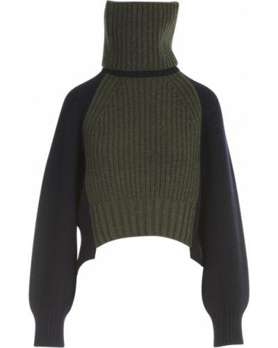Zielony sweter wełniany Sacai