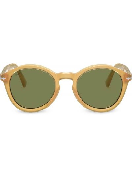 Золотистые солнцезащитные очки круглые хаки Persol