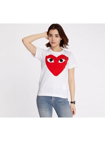 Biały t-shirt Comme Des Garcons Play