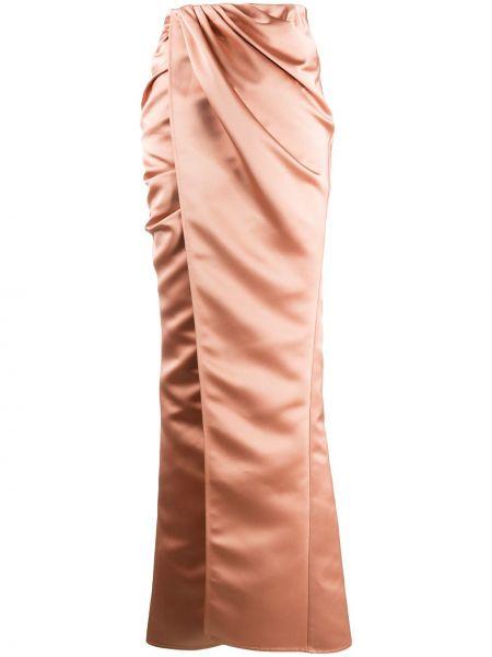 Розовая с завышенной талией юбка макси с драпировкой Elisabetta Franchi