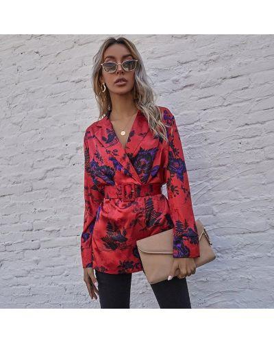 Малиновый пиджак с поясом Berni Fashion