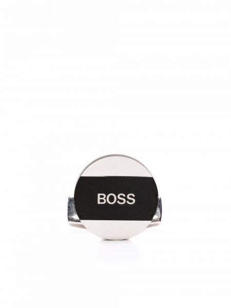 Spinki do mankietów srebrne - czarne Boss Hugo Boss
